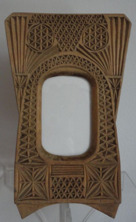 Antique Imperial Russian Carved Wooden Pan Slavic Style CDV Photo Frame